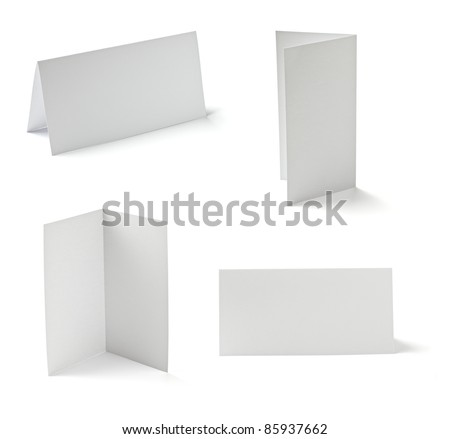 collection of  various folded cards on white background. each one is shot separately - stock photo