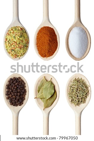 collection of various food ingredients in wooden spoon on white background. each one is shot separately - stock photo