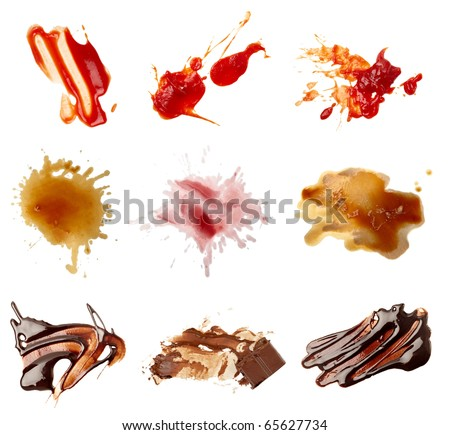 collection of various food stains from ketchup, chocolate, coffee and wine on white background. each one is shot separately - stock photo