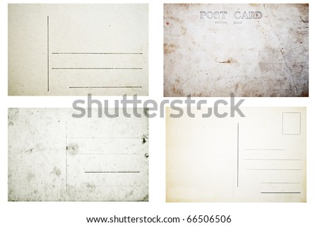 Collection of various grunge empty postcards isolated on white background - stock photo