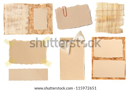 Collection of various grunge paper pieces on white background. each one is shot separately - stock photo
