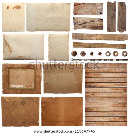 collection of various grunge paper pieces with wood plank, Isolated on white background. - stock photo