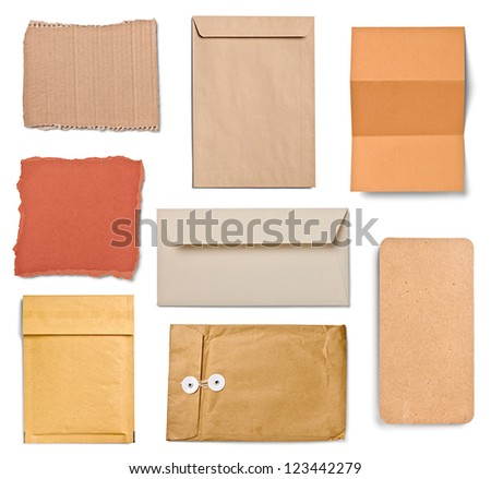 collection of  various grunge papers and envelopes on white background. each one is shot separately