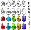 Collection of various hand signs and gestures/Hand symbol icon set - stock vector