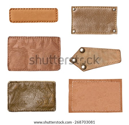collection of various  jeans labels on white background. each one is shot separately.