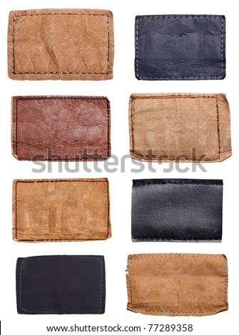 collection of various jeans labels on white background. each one is shot separately - stock photo