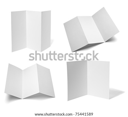 collection of various leaflet blank white paper on white background. each one is shot separately - stock photo