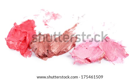 Collection of various lipstick, isolated on white