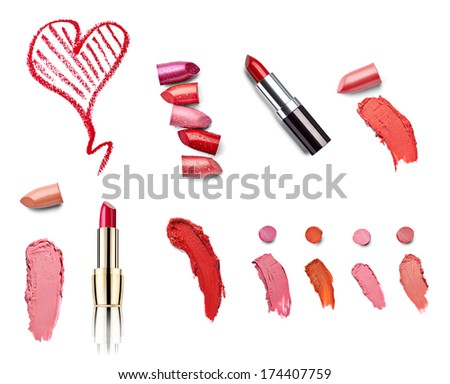 collection of  various lipsticks  and heart shapes on white background. each one is shot separately - stock photo