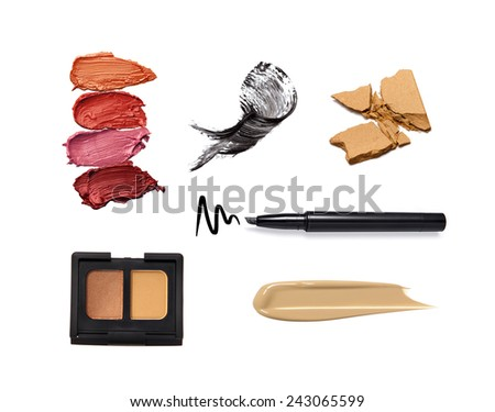 Collection of various make up accessories isolated on white  - stock photo