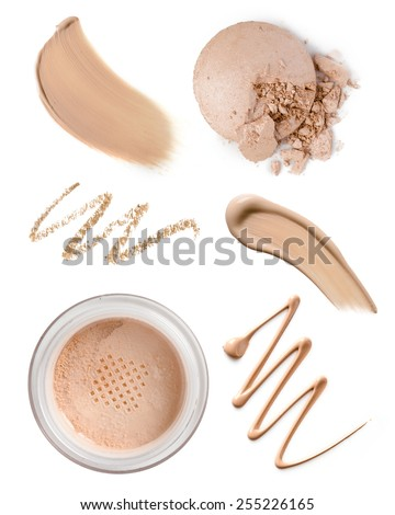 collection of various make up accessories on white background - stock photo