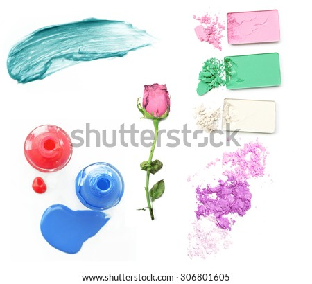 Collection of various make up accessories on white background. - stock photo