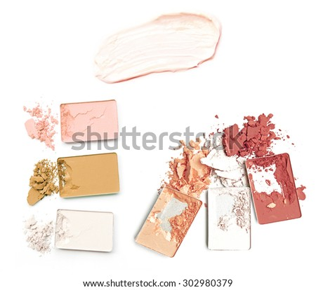 collection of various make up powder on white background - stock photo