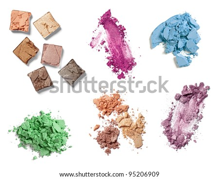 collection of various   make up powder on white background. each one is shot separately