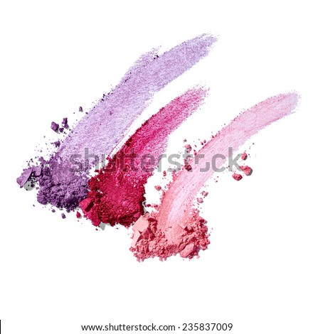 collection of various make up powder samples on white background - stock photo