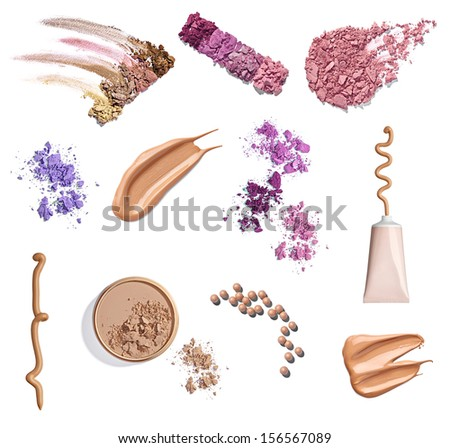 collection of various make up powder samples on white background. each one is shot separately