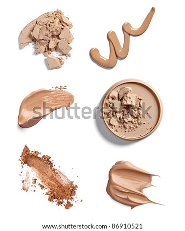 collection of  various make up powder strokes on white background. each one is shot separately - stock photo