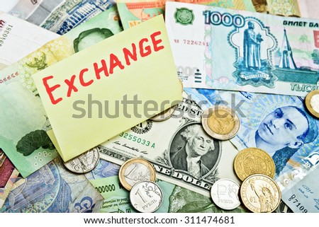 Collection of various money, currency exchange - stock photo