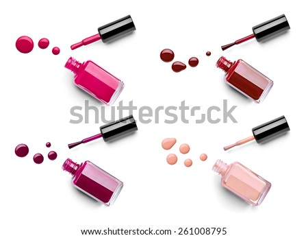 collection of various nail polish bottle and drop on white background. each one is shor separately - stock photo
