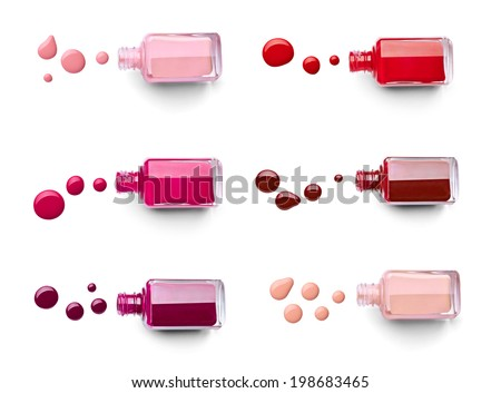 collection of various nail polish bottle and drop on white background. each one is shot separately - stock photo