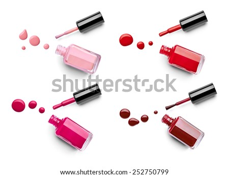 collection of various nail polish bottle and drop on white background. each one is shotseparately - stock photo