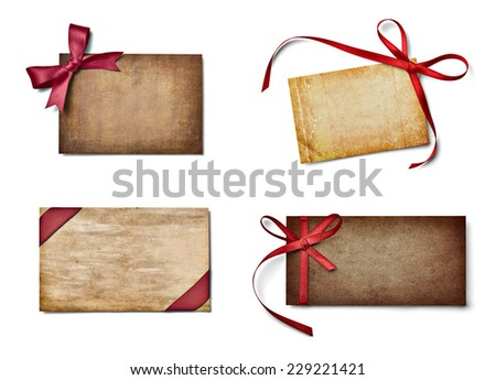 collection of various note cards with ribbon bow on white background. each one is shot separately - stock photo