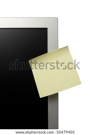 collection of various note papers  on computer monitor, on white background with clipping path - stock photo