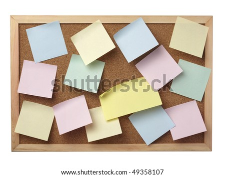 collection of various note papers  on cork board, on white background with clipping path - stock photo