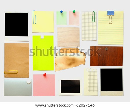 collection of various note papers on white - stock photo