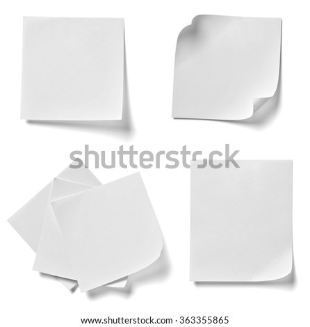 collection of  various note papers on white background. each one is shot separately - stock photo