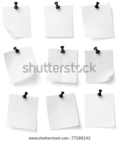 collection of various note papers with push pins on white background. each one is shot separately - stock photo