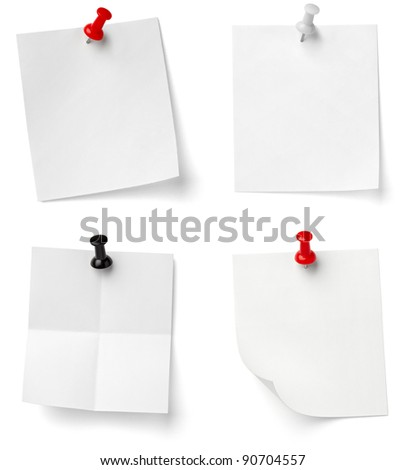 collection of various note papers with push pins on white background. each one is shot separately