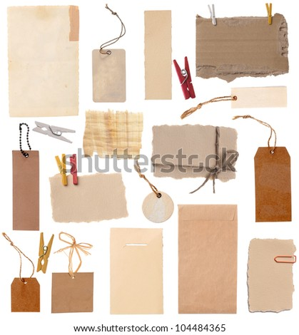 Collection of various note tags or address labels isolated on the white background - stock photo