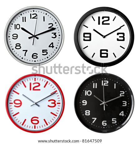 collection of various office clocks on white background. each one is shot separately