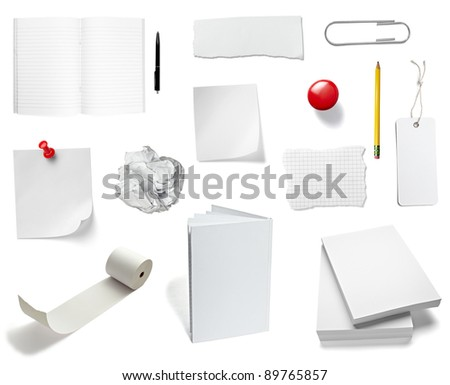 collection of various office papers and objects on white background. each one is shot separately - stock photo