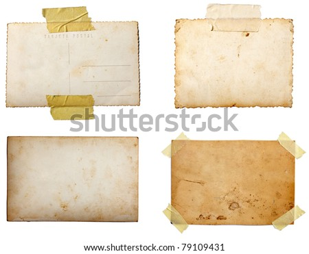 collection of various  old photos on white background. each one is shot separately - stock photo