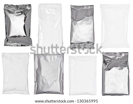 collection of various paper and aluminum bags on white background. each one is shot separately - stock photo