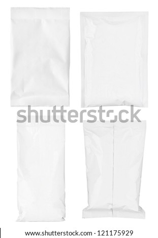 collection of various paper bags on white background. each one is shot separately - stock photo