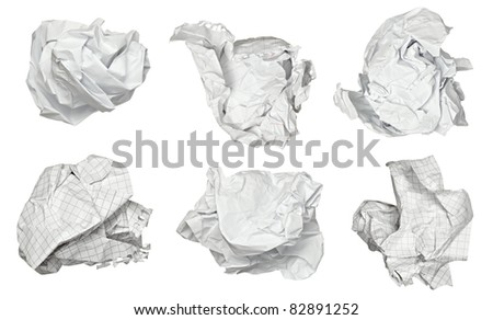 collection of various paper ball on white background. each one is shot separately - stock photo