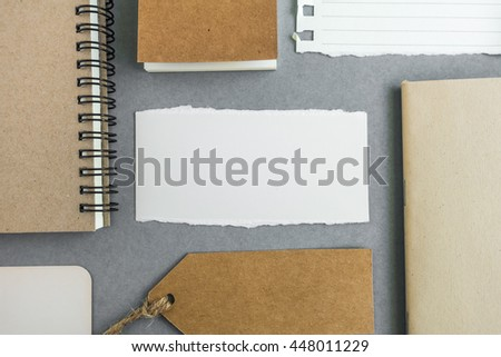 Collection of various paper, cardboard, tag, card and book with soft shadows. - stock photo