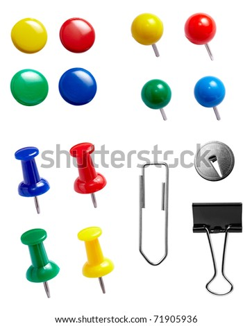 collection of various paper clips. each one is shot separately - stock photo
