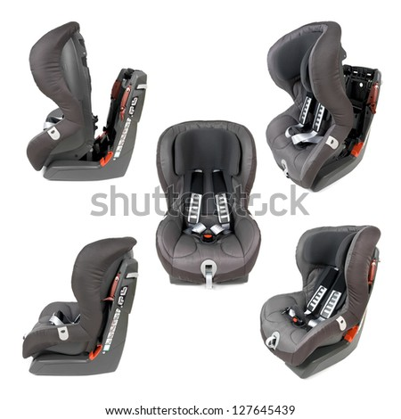 Collection of various photos of a safety car seat isolated on white background. - stock photo