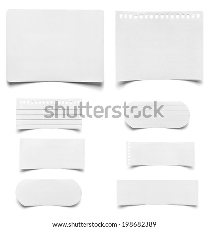 collection of various pieces of note paper on white background. each one is shot separately - stock photo