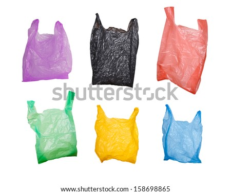 collection of various plastic bags isolated on white background - stock photo