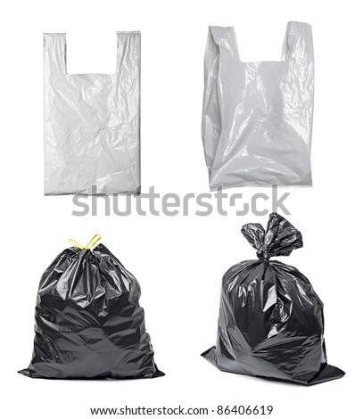 collection of various plastic bags on white background. each one is shot separately - stock photo
