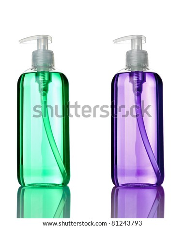 collection of various plastic soap bottle on white background. each one is shot separately - stock photo