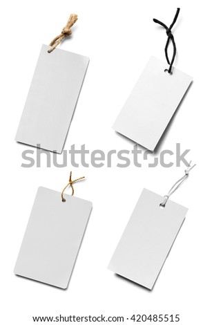 collection of  various price label notes on white background. each one is shot separately - stock photo