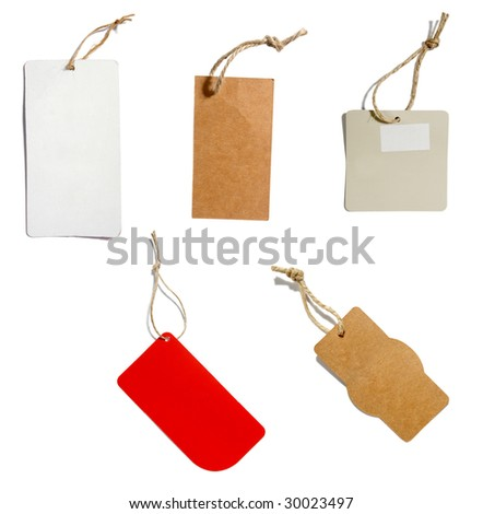 collection of various price labels on white background. each one is in the full cameras resolution