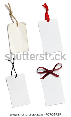 collection of  various price labels on white background. each one is shot separately - stock photo