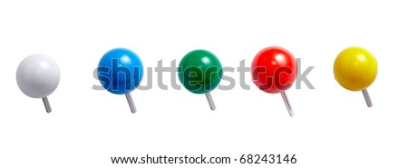 collection of various push pins. each one is shot separately - stock photo